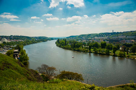 Prague, Czech Republic, Europe: Panoramic view of Prague Czech Republic and Vltava river from Visegrad fortress Stok Fotoğraf