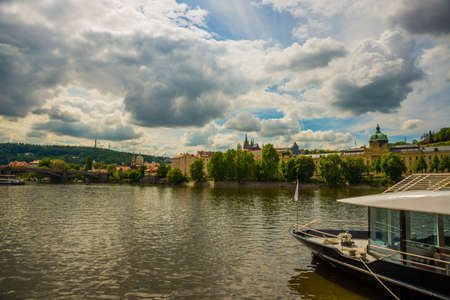 Prague, Bohemia, Czech Republic, Bohemia: Beautiful landscape with views of churches, houses and the river.