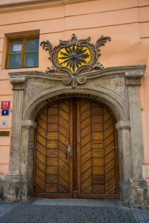 Prague, Czech Republic, Europe: Old historical door. Beautiful building in the historical center of Prague. Paperny old tourist town. Stok Fotoğraf
