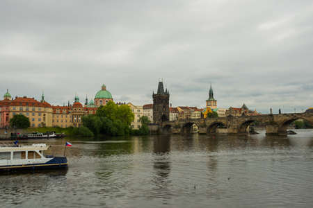Prague, Czech Republic, Europe: skyline with historic Charles Bridge and Vltava river