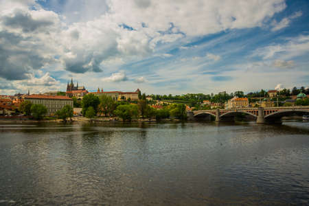 Karluv Most, Prague, Czech Republic, Europe: Beautiful view of Charles bridge.This bridge is the oldest in the city and a very popular tourist attraction Stok Fotoğraf