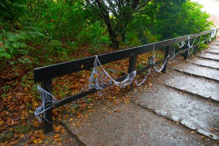 White spider Web and lantern on wooden bridge in autumn forest on Halloween holiday. Denmark, Europe Stock Photo