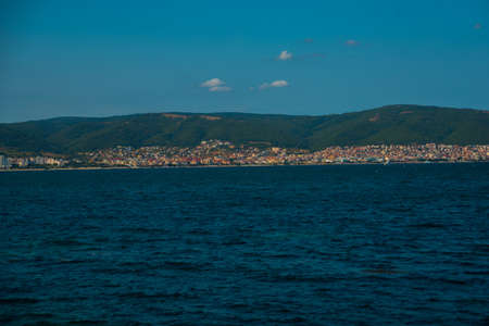 NESSEBAR, BULGARIA: Beautiful Black Sea with a view of the old town of Nessebar, Bulgaria