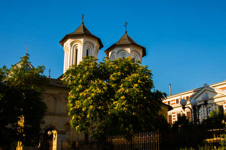 Bucharest, Romania, Europe: Beautiful Church in the old town in the evening.