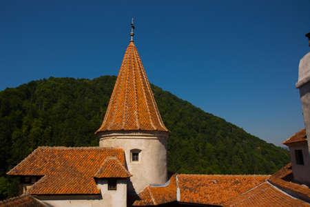 BRAN, ROMANIA: Drakula's Castle. Interior yard of the Bran Castle, a national monument and landmark in Romania, Transylvania