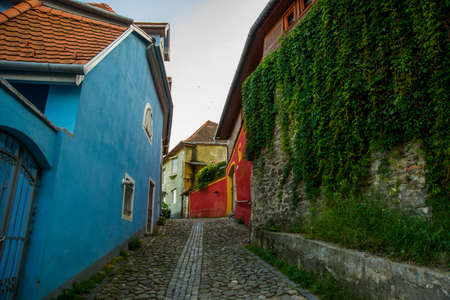 Sighisoara, Romania: Medieval street view in Sighisoara founded by saxon colonists in XIII century, Romania