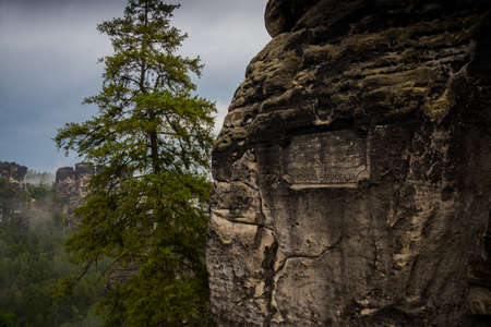 National park Saxon Switzerland, Germany: Beautiful View from viewpoint of Bastei in Saxon Switzerland, National park Saxon Switzerland. Germany, Kurort Rathen near Dresden