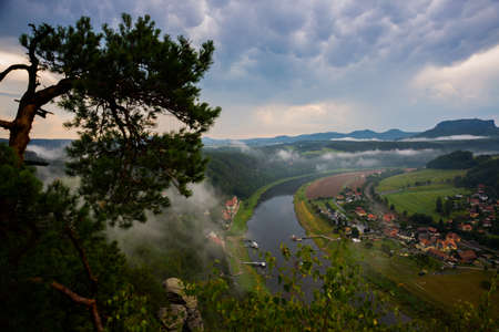 Beautiful top view of Rathen resort and Elbe from Bastei in Saxon Switzerland, Germany, near Dresden and Rathen