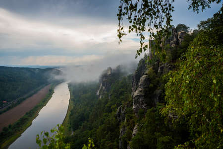 View over the Elbtal and the Elbe from the Bastei in the Saxon Switzerland, Germany, near Dresden and Rathen Reklamní fotografie