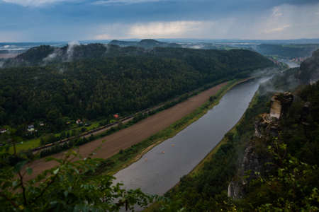 Beautiful top view of the river Elbe from Bastei in Saxon Switzerland, Germany, near Dresden and Rathen Reklamní fotografie