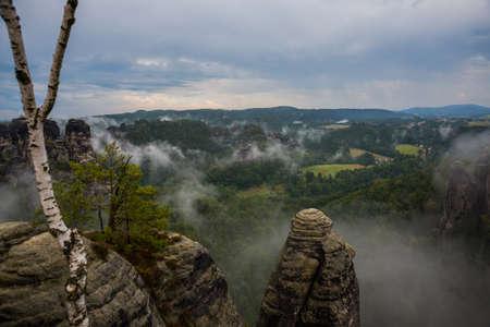 National park Saxon Switzerland, Germany: View from viewpoint of Bastei in Saxon Switzerland, National park Saxon Switzerland. Germany, Kurort Rathen near Dresden