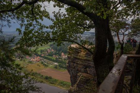 View from viewpoint of Bastei in Saxon Switzerland, National park Saxon Switzerland. Germany, Kurort Rathen near Dresden
