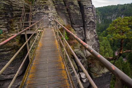 Beautiful bridge in bastey rocks. Bastei rocks in Saxon Switzerland, Germany, Kurort Rathen near Dresden