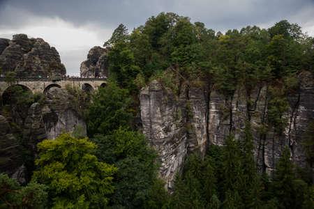 Bastei, Germany: The Bastei Bridge in the Elbe Sandstone Mountains of Saxon Switzerland. Europe,near Dresden and Rathen