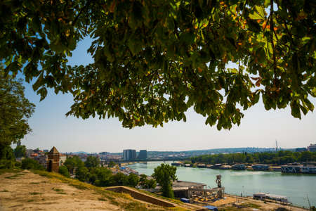 Belgrade, Serbia: Kalemegdan Park on the confluence of the River Sava and Danube. Beautiful view of the city from above.