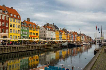 COPENHAGEN, DENMARK: View of old Nyhavn port in the central Copenhagen, Denmark, Europe Banco de Imagens