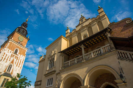 Krakow, Poland: Town Hall Tower at Main Market Square in the Old Town. Krakow, Poland, Europe
