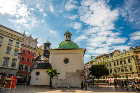 Krakow, Poland: Beautiful buildings in the historical center of Krakow, Market Square, Rynek Glowny in Poland. Europe