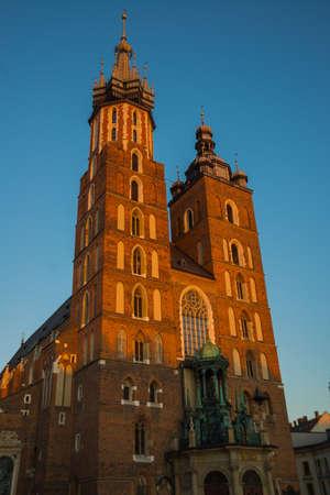 Krakow, Poland: St. Mary's Basilica. Beautiful Church in the historical center of Krakow, Main Market Square, Rynek Glowny, Europe