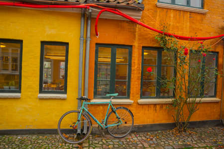 Odense, Denmark: Old homes in cobbled streets in Odense, the city of Hans Christian Andersen, Denmark Stock Photo