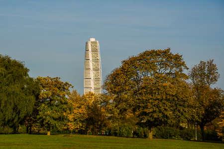 MALMO, SWEDEN : Turning Torso skyscraper in Malmo, Sweden. Designed by Santiago Calatrava, it is the most recognized landmark of Malmo today.