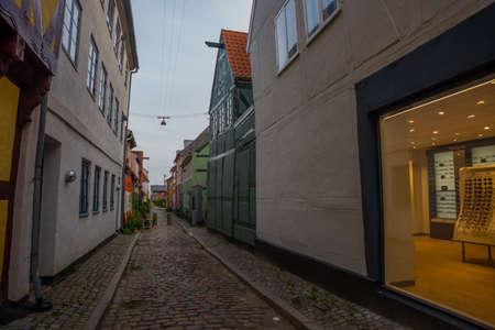 HELSINGOR, ELSINORE, DENMARK: Street view in Helsingor. Helsingor is a city in eastern Denmark, it known for its castle Kronborg. Europe Stock Photo