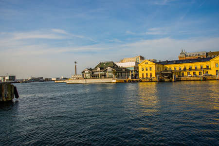 HELSINGBORG, SWEDEN: A panoramic image of the port in Helsingborg. A city in south western Sweden.