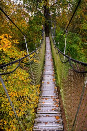 Suspension bridge in the Park. Landscape View of the long steel suspension bridge over the forest. Egeskov Castle, Denmark, Europe Stok Fotoğraf