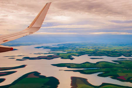 Manaus, Amazonas, Brazil, South America: Top view of the river. Beautiful landscape from the window of the airplane. Reklamní fotografie