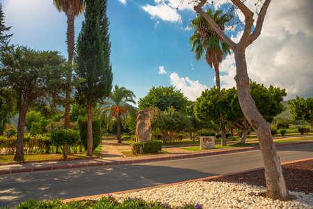 KEMER, TURKEY: Beautiful City Park on a sunny day in Kemer, Turkey. The inscription in the park - Wir sind partner, biz kardesiz, Schwabach and Kemer.