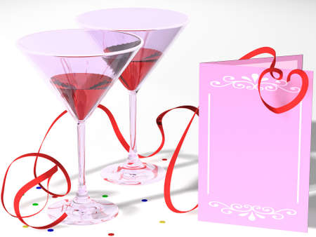 Composition with two glasses and a card, for registration of the invitation to a holiday. Stock Photo - 4047700