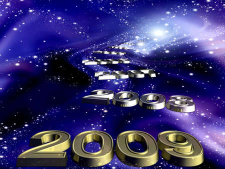 which: New 2009 year and years which go away in cosmos. Stock Photo