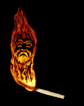 splendour: The abstract image of burning match with a flame as a mask of tragedy.