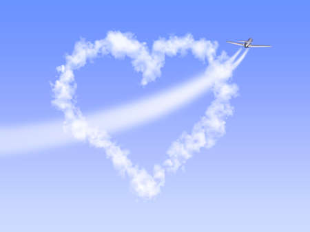 flown: The image of heart as clouds through which has flown by the plane, having left a trace as arrow.
