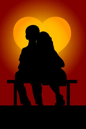 twain: The guy with the girl sit on a bench in time a sunset, which as heart.