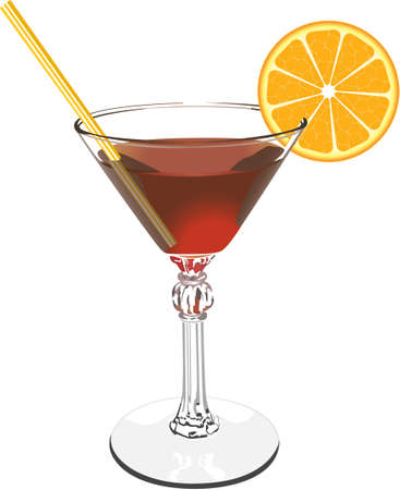 tubule: The vector image of a glass glass with a red wine a tubule and an orange.