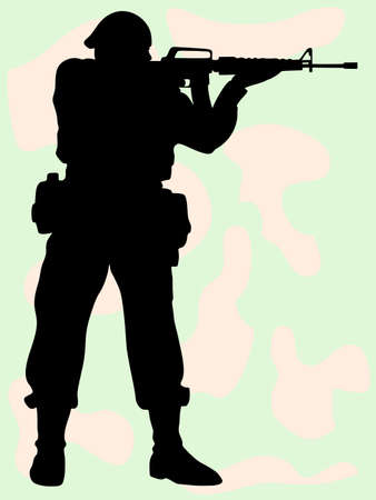 The vector image of the soldier on a background of a camouflage which shoots. Illustration