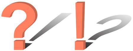 interrogativa: El vector de la imagen y la interrogativa exclamatorias signos, en la que las sombras no sus formas. Vectores