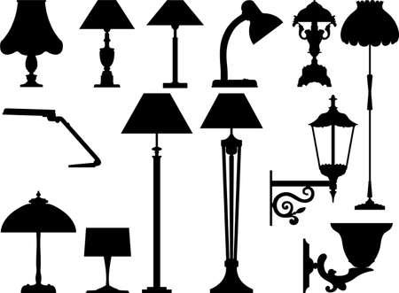 Iconos de vector de dispositivos de alumbrado en ella es de color blanco negro.