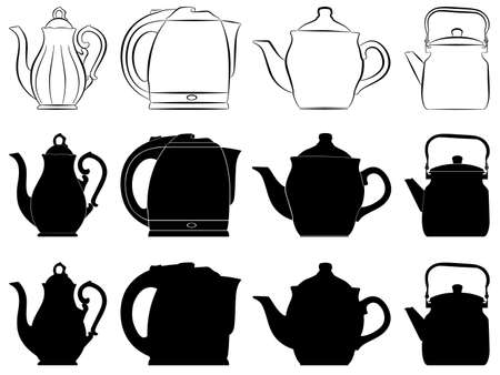 The vector image of teapots as silhouettes and contours. photo