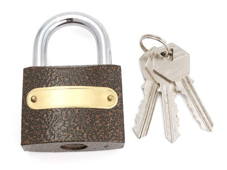 cropping: The closed lock and keys.The image contains a contour for cropping.