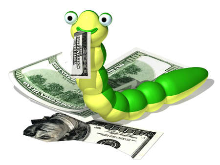 undulating: Three-dimensional cartoon the image of a caterpillar and a money