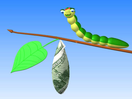cartoon larva: The three-dimensional cartoon image of a caterpillar sitting on twig with a cocoon