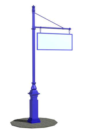 La imagen tridimensional, de dibujos animados de un pilar con una señal Foto de archivo - 8447813
