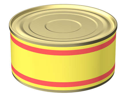 Het driedimensionale, cartoonafbeelding van een blikje met een leeg etiket. Achtergrondwit, schaduwen ontbreken.