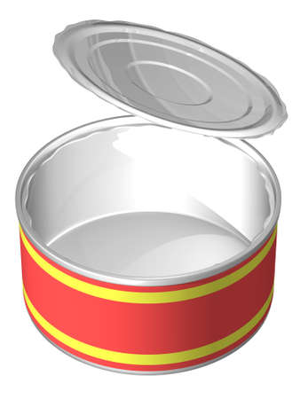 tinned: The three-dimensional, cartoon image of an open can with an empty label. Background white, shadows are absent.