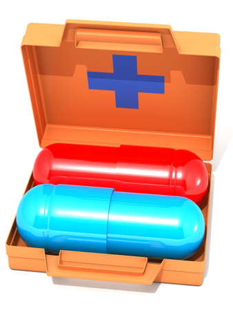 The three-dimensional image of the first-aid set with pills on a white background photo