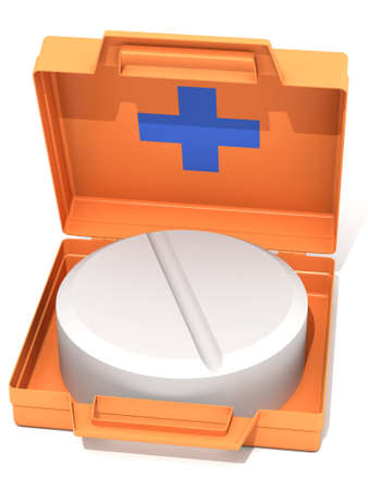 The three-dimensional image of the first-aid set with a tablet on a white background photo