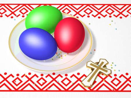 La imagen tridimensional de huevos de Pascua en una placa y una Cruz en una toalla con un patrón Foto de archivo - 9285103