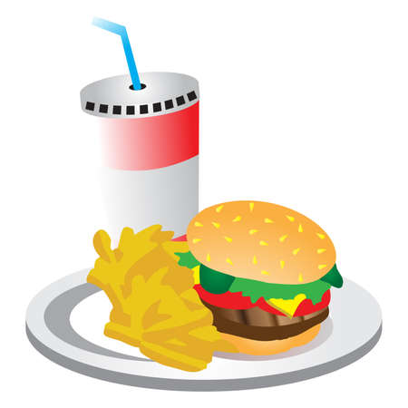 burger with fries: Burger fries and a drink
